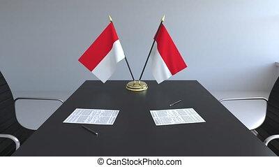 signer, agreement., indonésie, animation, drapeaux, papiers, conceptuel, table., négociations, 3d