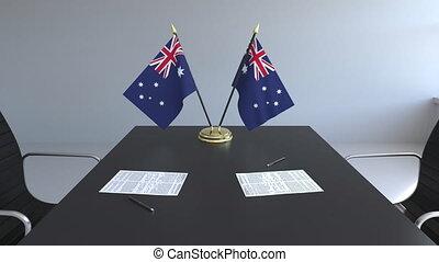 signer, australie, agreement., animation, drapeaux, papiers, conceptuel, table., négociations, 3d