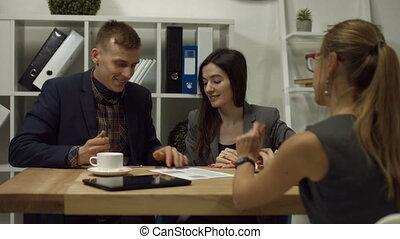 signer, bureau, couple, ensemble, contrat, heureux