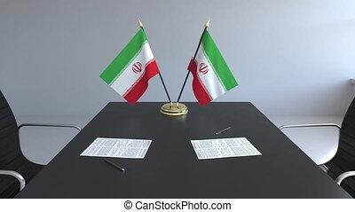 signer, iran, agreement., animation, drapeaux, papiers, conceptuel, table., négociations, 3d