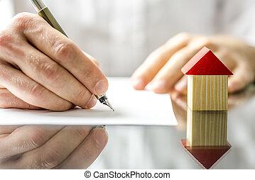 signer, maison, quand, contrat, nouveau, achat, homme
