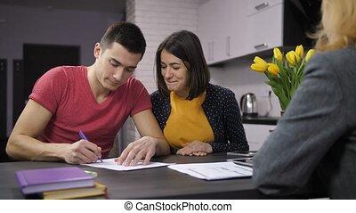 signer, propriété, couple, contrat, gai, agent