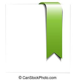 signet, frais, -, vert, ruban