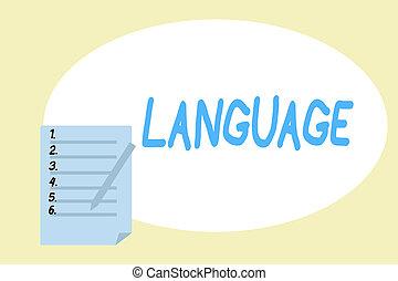signification, concept, huanalysis, parlé, texte, language., écriture, méthode, écrit, non plus, mots, communication, écriture, consister