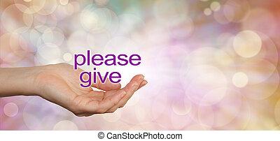 s'il vous plaît, bannière, charité, donner, campagne