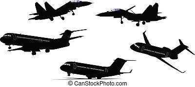 silh, avion, noir, cinq, blanc