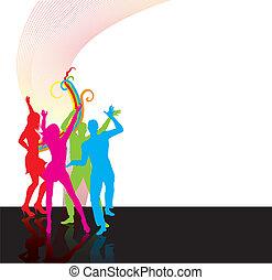 silhoettes, gens, danse, heureux