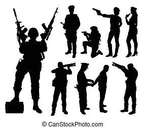 silhouett, militaire, police, soldat