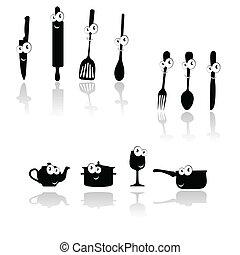 silhouett, outillage, vecteur, noir, cuisine