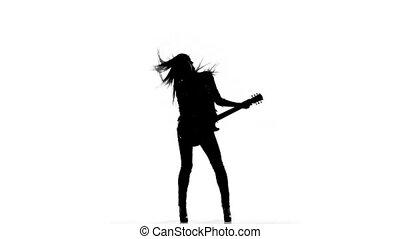 silhouette, électrique, danse, jeune, jeu guitare, arrière-plan., blanc, girl