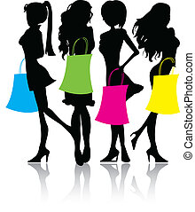 silhouette, achats, filles