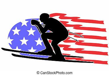 silhouette, américain, skieur