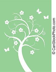 silhouette, arbre fleurissant
