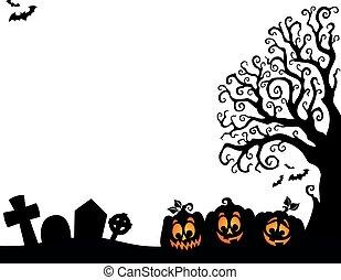 silhouette, arbre, halloween, thème, 3, moitié