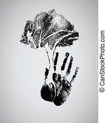 silhouette, arbre, handprint, noir