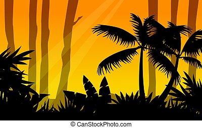 silhouette, arbre, jungle, paysage