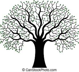 silhouette, arbre, vert, dessin animé