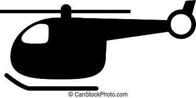 silhouette, arrière-plan., blanc, noir, hélicoptère