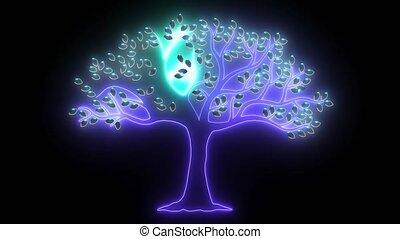 silhouette, arrière-plan noir, blanc, isolé, arbre