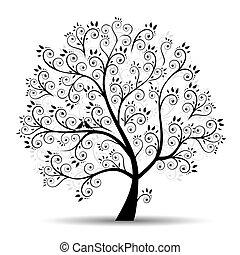 silhouette, art, arbre, beau, noir