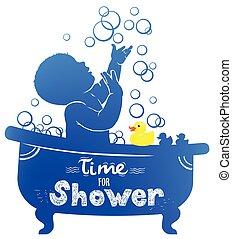 silhouette, bain, canard caoutchouc, bébé, bulles