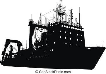 silhouette, bateau