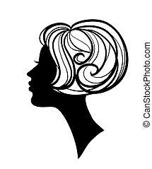 silhouette, beau, coiffure, femme, élégant