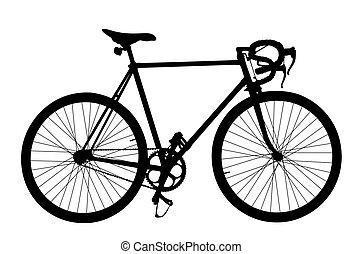 silhouette, bike., sports