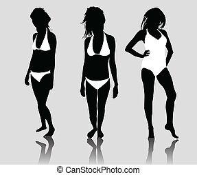silhouette, bikini, filles