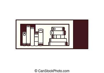 silhouette, blanc, livres, rayonnage, fond
