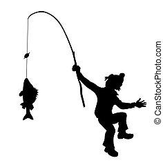 silhouette, blanc, pêcheur, fond