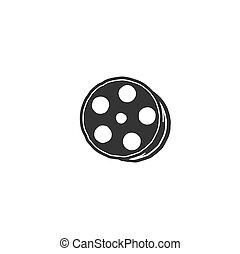 silhouette, bobine, vendange, main, dessiné, film, négatif, rouleau, cinéma, bandes, logo, pellicule, vidéo