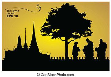 silhouette, bouddha