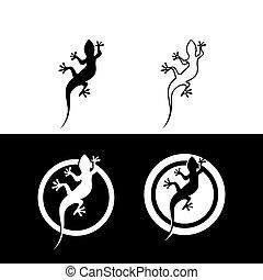 silhouette, caméléon, lézard, gecko