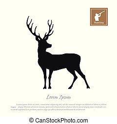 silhouette, chasseur, cerf, fusil, arrière-plan., noir, blanc, icône