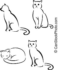 silhouette, chat