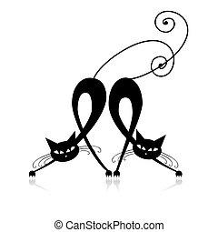 silhouette, chats, deux, conception, gracieux, ton, noir