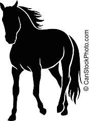 silhouette, cheval
