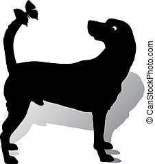 silhouette, chien, (abstract), queue, fond, blanc, assied, papillon, dessin animé