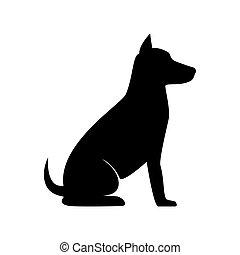 silhouette, chien, asseoir
