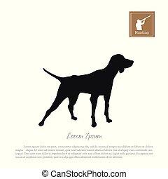 silhouette, chien chasse, arrière-plan noir, blanc