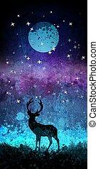 silhouette, ciel, cerf, lune, clair, étoiles, nuit, devant