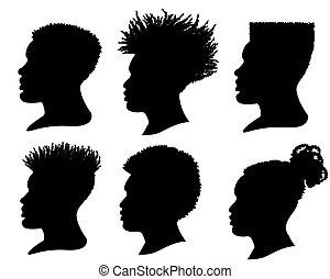 silhouette, coiffure, isolé, vecteur, africaine, portrait, américain, blanc, ensemble, men., têtes, profil