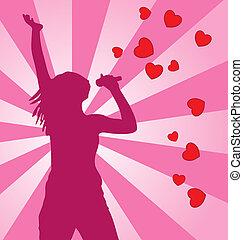 silhouette, coloré, arrière-plan., vecteur, femme, chant