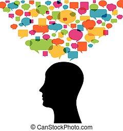 silhouette, coloré, pensée, pensée, bulles, homme