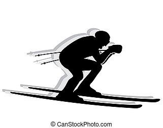 silhouette, concurrent, -, ski