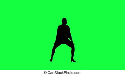silhouette, contre, dancer's, vert