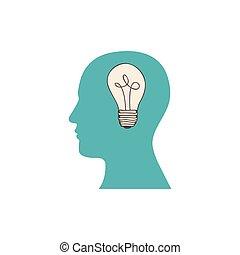 silhouette, couleur, lumière, esprit, figure, humain, ampoule