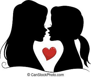 silhouette, couple, filles, lesbienne, illustration