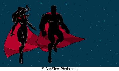 silhouette, couple, voler, espace, superhero